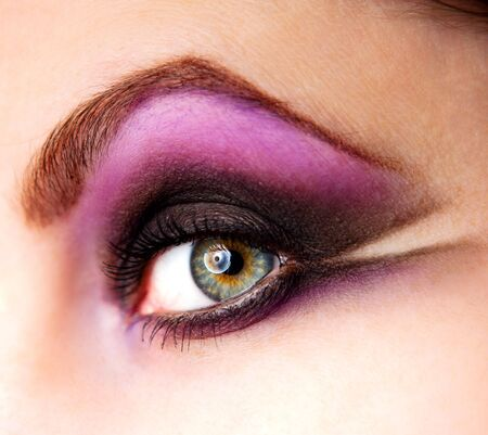 closeup of female eye with beautiful make-up
