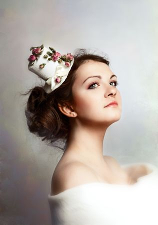 beautiful woman in hat with roses. Retro style. Stock Photo
