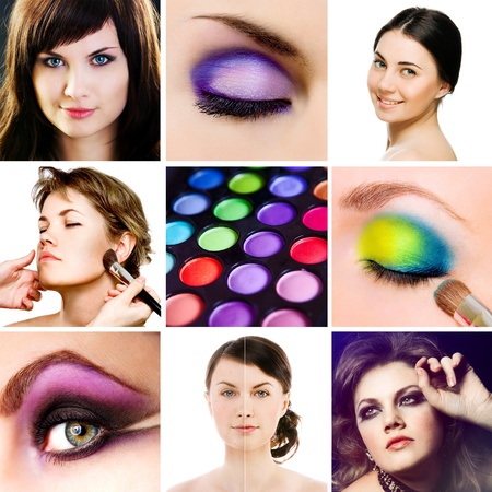 smoky eyes: collage with photos of make-up stuff