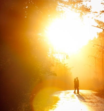 siluetas de enamorados: hermoso tiro de besar la pareja en la luz del sol