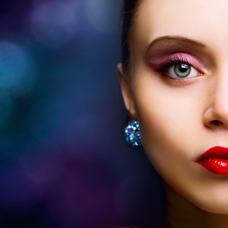 portrait of beautiful fashionable woman on dark background Stock Photo - 9620903