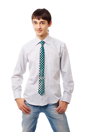 neckties: joven apuesto adolescente aislado en blanco bakground Foto de archivo