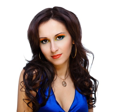 beautiful woman with bright make-up on black background Stock Photo - 9802142