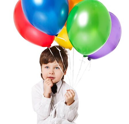 cute little boy with balloons isolated on white Stock Photo - 12306985