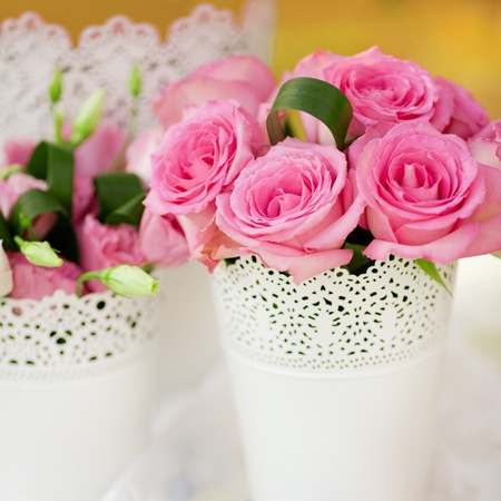 beautiful wedding table decorated with the flowers Stock Photo - 12306986