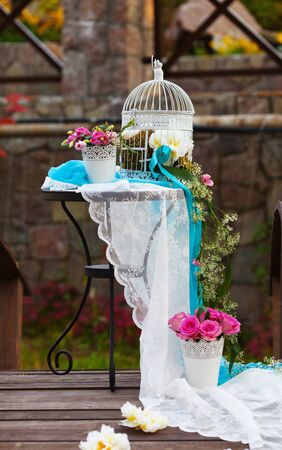 Beautiful decoration for the wedding table on the nature photo