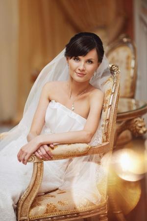 wed: portrait of beautiful bride in luxury interior