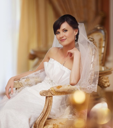 portrait of beautiful bride in luxury interior Stock Photo - 12658971