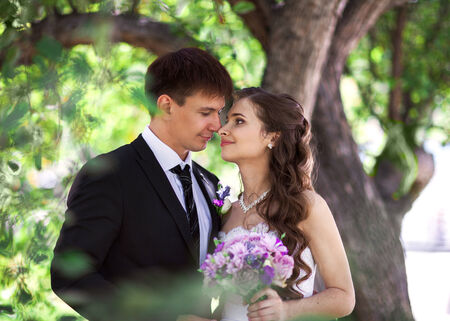 Portrait of groom and bride under the tree photo