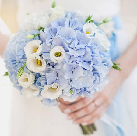wedding accessories: Image of beautiful wedding bouquet in blue tones