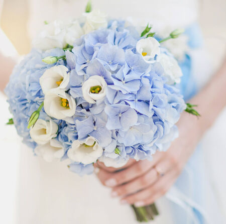 Image of beautiful wedding bouquet in blue tones photo