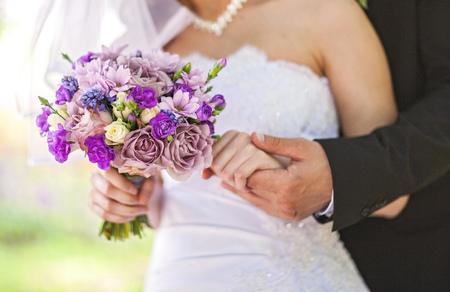 Closeup image of beautiful wedding bouquet photo