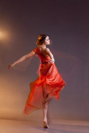 elegancy: Portrait of beautiful dancing girl Stock Photo