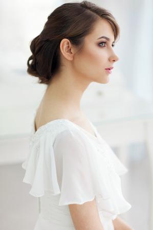 simple girl: Portrait of beautiful woman in girlish bedroom