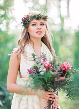 circlet: Beautiful young woman dressed in bohemian style Stock Photo