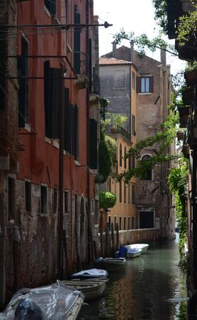dingy: Boats in a canal, Venice