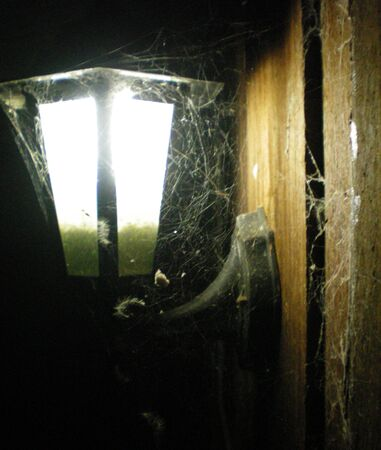 An outdoor lamp shining at night. It is covered in cobwebs. It hangs from a wooden wall. The lamp is balck metal.