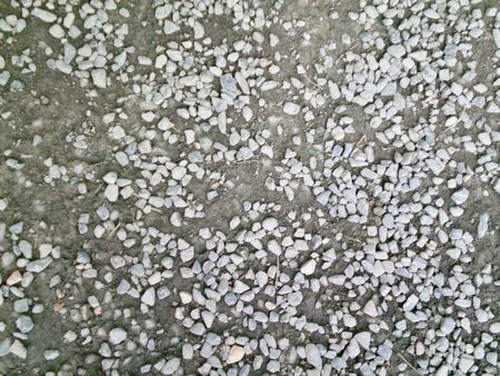 Small gray stones scattered across a dirt path. THe photo is on varying tones of gray, with the edges blurred,