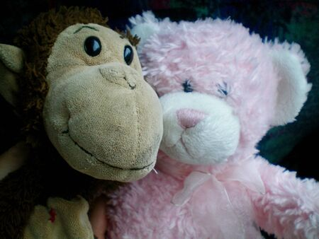 A close up of two old soft toys - a pink teddy bear and a brown monkey.