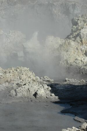 The bubbling mud pools of Rotorua. They are surrounded by steam, and rocks tinged yellow from the sulphurous gases.