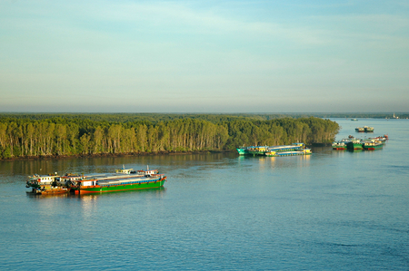 Colourful cargo boats are moored on the Saigon river just outside Ho Chi Minh city. A forest runs down to the rivers edge. The sky is clear, with faint clouds.