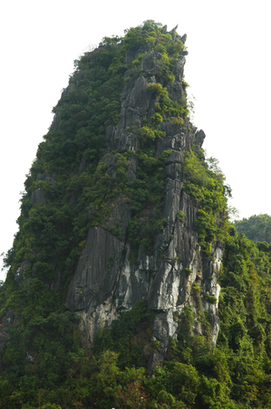 A rock rises straight above the surrounding hillside. It is covered with trees, and a forest surrounds it. The sky is clear.