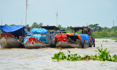 Three wooden boats are moored together on the Mekong Delta, Vietnam.