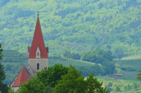 A church along the Rhine River in Germany. It has burnt red steeple, which rises against the vineyards and forest in the background. Stock Photo