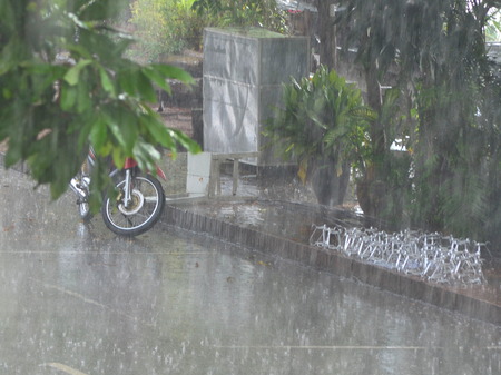 A motorbike has been left by the side of the street in a tropical downpour. It is half-hidden by the leaves of a tree. A bike rack is nearby. Stock Photo