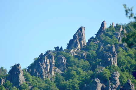 Rugged rocks are rising against a blue sky. They are pointing upward on the side of a mountian, and are surrounded by forest. The sky is blue.