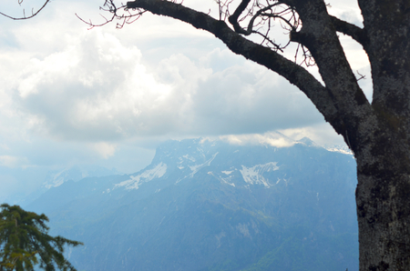 Mountain peaks are lost in storm clouds. Snow is on the side of the mountain. The bare branches of a tree frame the view.