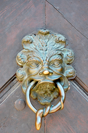 A golden door handle on a reddy-brown wooden door. It is in the shape of a lions head, with the handle in its mouth. A snake is coiled around the handle.