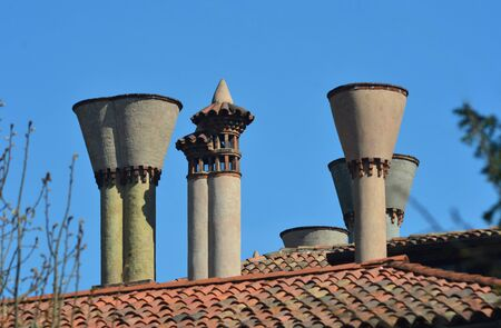 A cluster of old chimneys on a rooftop in Tuscany. The roof is covered with terracotta tiles. The sky is blue. Some trees are in the foreground.