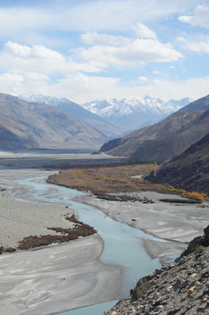 A river with tributaries runs through a plain in Ladakh, India. It is filled with mineral rich soil. Some trees are growing neaar the water. Snow covered mountains, part of the Western Himalayas, are in the distance.