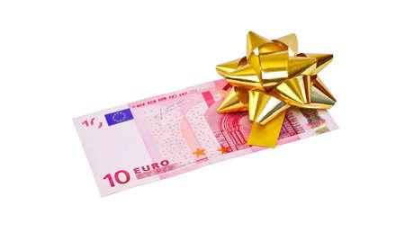 10 euro bank biljetten met strik