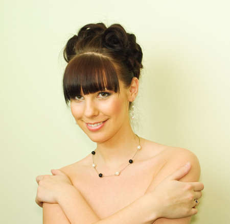 Young attractive woman with wedding haircut  photo