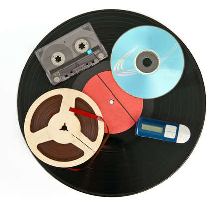 Music storage devices from past to nowadays photo