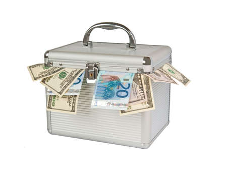 Aluminum box full of cash isolated on white photo