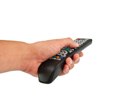Hand holding TV remote control photo