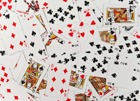 Playing cards on table for background