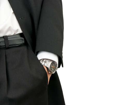 Businessman holding hand with wrist watches in pocket isolated on white