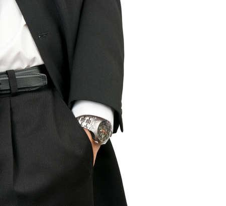 Zaken man bezit van hand met pols horloges in zak geïsoleerd op wit Stockfoto