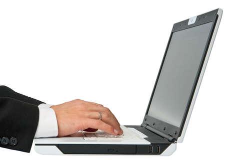 Zakenman bezig met witte laptop geïsoleerd op wit Stockfoto
