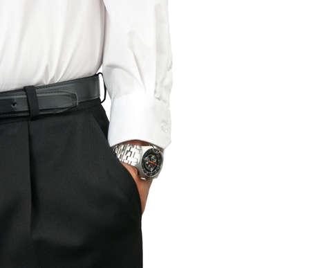 wristwatch: Man holding hand in pocket