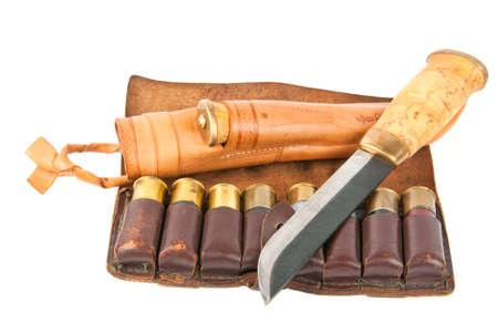 Cartridge for shotgun shells and hunters knife with shealth photo