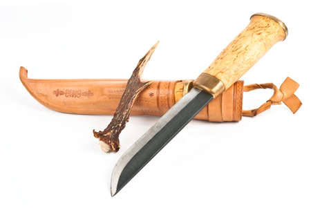 sheath: Knife with sheath and antler over white Stock Photo