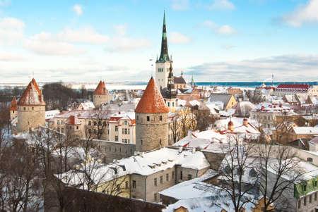 Oude stad van Tallinn (Estland) in de winter Stockfoto