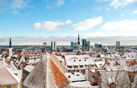 Panoramic view of winter Tallinn from Upper town (Toompea) photo