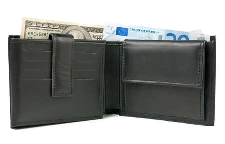 Wallet with euro and dollars over white photo