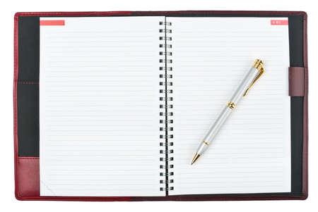 journal intime: Annuaire ouvert avec pen sur blanc